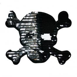 Ecusson XL Tête de Mort Sequin - Argent & Noir