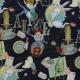 Tissu Popeline Coton Alice au Pays des Merveilles - Noir