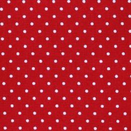 Tissu Popeline Coton pois - Rouge & Blanc