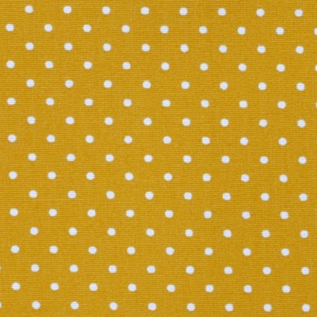 Tissu Popeline Coton pois - Moutarde & Blanc