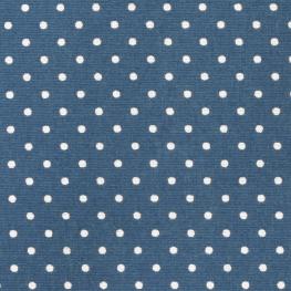 Tissu Popeline Coton Petit Pois - Bleu & Blanc