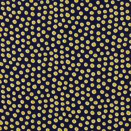 Tissu Crêpe Georgette Pois - Bleu marine & Jaune
