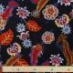 Tissu Crêpe Georgette Fleuri Vintage - Noir