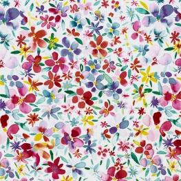 Tissu Popeline Aquarelle de Pétales Fleuri - Blanc & Multicolore