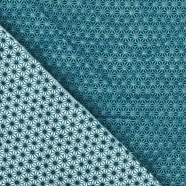 Tissu matelassé étoiles asahona - Bleu pétrole