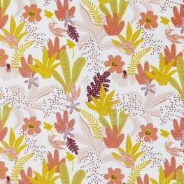 Tissu Popeline Fleurs et Fougères 100% Coton Bio GOTS - Blanc, Rose & Vert