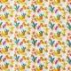 Tissu Popeline Fleurs et Fougères 100% Coton Bio GOTS - Blanc, Moutarde & Bleu