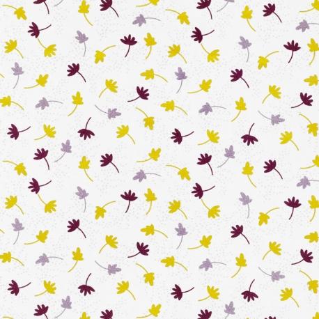 Tissu Popeline Feuille d'Automne 100% Coton Bio GOTS - Prune & Moutarde