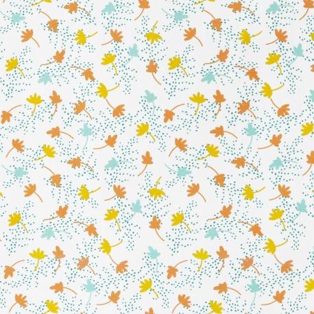 Tissu Popeline Feuille d'Automne 100% Coton Bio GOTS - Orange & Moutarde