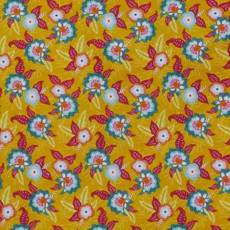 Tissu Popeline Fleuri 100% Coton Bio GOTS - Moutarde