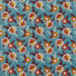 Tissu Popeline Fleuri 100% Coton Bio GOTS - Bleu