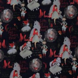 Tissu Popeline Coton Petit Chaperon Rouge - Noir