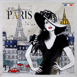 Carré Jacquard I Love Paris - Taupe