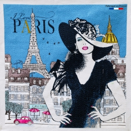 Carré Jacquard I Love Paris - Bleu
