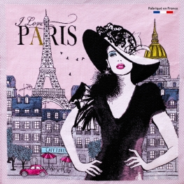 Carré Jacquard I Love Paris - Rose