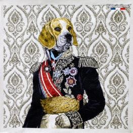 Carré Jacquard Empereur Labrador - Ecru