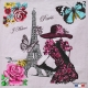 Carré Jacquard J'Adore Paris - Ecru & Rose