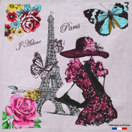 Carré Jacquard J'Adore Paris - Ecru & Rose