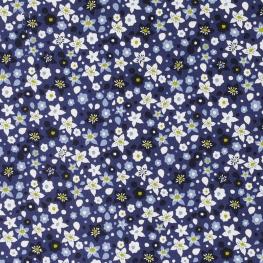 Tissu Popeline Fleurs des Champs - Bleu marine