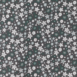 Tissu Popeline Fleurs des Champs - Gris & Vert