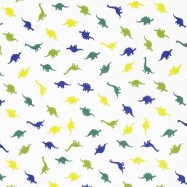 Tissu Popeline Dinosaures - Blanc