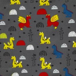 Tissu Popeline Dragons - Gris