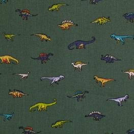 Tissu Popeline Coton Dino Family - Vert kaki