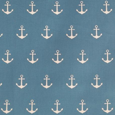 Tissu Popeline Coton Ancre marine - Moutarde