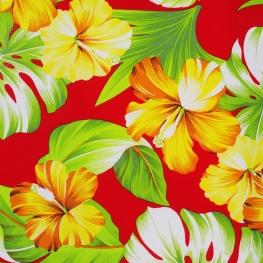 Tissu Viscose Hibiscus - Rouge