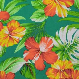 Tissu Viscose Hibiscus - Vert