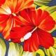 Tissu Viscose Hibiscus - Bleu marine