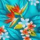 Tissu Viscose Oiseau de paradis - Bleu lagon