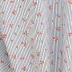 Tissu Coton Cretonne Fleurs & Rayures - Bleu marine