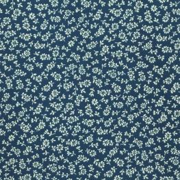 Tissu Coton Cretonne Petit Fleuri - Bleu marine
