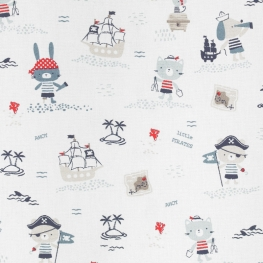 Tissu Popeline Coton Little Pirates - Blanc