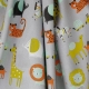 Tissu Popeline Coton Bio Animaux de la Savane - Gris