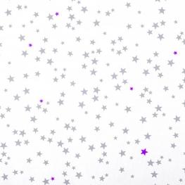 Tissu piqué de coton fantaisie étoiles - Gris & Fuchsia