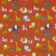 Tissu Popeline Coton Bio Animaux de la Savane - Orange Rouille