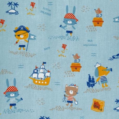 Tissu Popeline Coton Bio Little Pirates - Bleu ciel