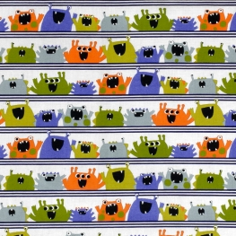 Tissu Popeline Coton Bio Little Monsters - Blanc & Multicolore