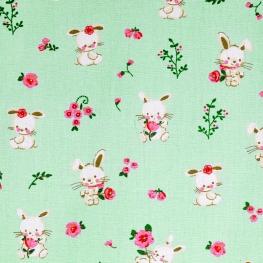 Tissu Popeline Coton Bio Sweet Bunny - Vert menthe