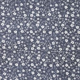 Tissu Popeline Petites Fleurs  100% Coton Bio GOTS - Bleu