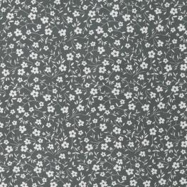 Tissu Popeline Petites Fleurs  100% Coton Bio GOTS - Vert kaki