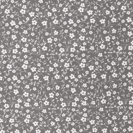Tissu Popeline Petites Fleurs 100% Coton Bio GOTS - Taupe
