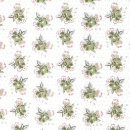 Tissu Popeline Bouquet Fleuri 100% Coton Bio GOTS - Blanc & Vert
