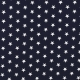 Tissu Popeline Etoile - Bleu marine & blanc