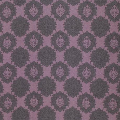 Tissu Popeline Bouquet Blason 100% Coton Bio GOTS - Violet