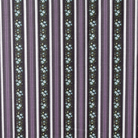 Tissu Popeline Bouquet & Ligne 100% Coton Bio GOTS - Violet