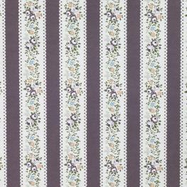 Tissu Popeline Fleurs & Lignes 100% Coton Bio GOTS - Violet
