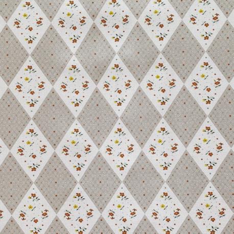 Tissu Popeline Fleur & Losange 100% Coton Bio GOTS - Gris